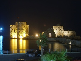 Sidon's Sea Castle built by the crusaders as a fortress of the holy land in Sidon, Lebanon.