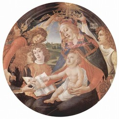 The family of Piero de' Medici portrayed by Sandro Botticelli in the Madonna del Magnificat.