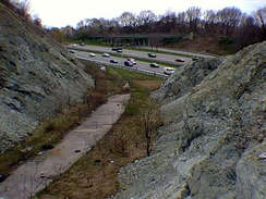Serpentinite shown in rock cut along I-278 in Staten Island by Todt Hill marked on USGS geological map.