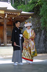 Couple being married in traditional dress