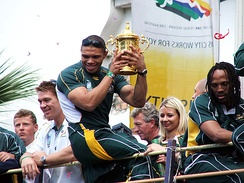 The Springboks in a bus parade after winning the 2007 Rugby World Cup