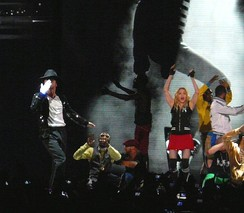 At her Sticky & Sweet Tour, Madonna and a dancer impersonating Jackson performed a medley of Jackson's music while photos of Jackson throughout his life were shown on a screen behind them.
