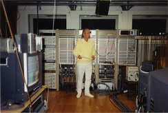 Karlheinz Stockhausen in the electronic-music studio of WDR, Cologne in 1991