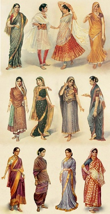 Illustration of different styles of sari, gagra choli & shalwar kameez worn by women in the Indian subcontinent.