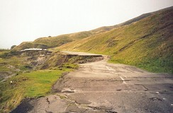Mam Tor road destroyed by subsidence and shear, near Castleton, Derbyshire.