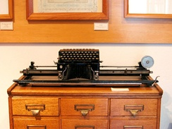 An Elliott-Fisher book typewriter on display at the Historic Archive and Museum of Mining in Pachuca, Mexico