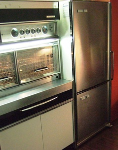 "Frigidaire Imperial ""Frost Proof"" model FPI-16BC-63, top refrigerator/bottom freezer with brushed chrome door finish made by General Motors Canada in 1963"