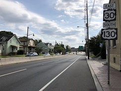 U.S. Route 30 eastbound and U.S. Route 130 southbound in Collingswood