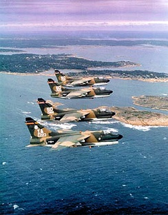 A-7 Corsair II aircraft of the Iowa Air National Guard (tail code IA) and South Dakota Air National Guard (tail code SD) during Crested Cap exercises, 1979