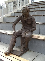 Sculpture of Dassler in the Adi Dassler Stadium, Herzogenaurach, Germany