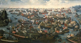 The Battle of Lepanto in a painting from the National Maritime Museum, Greenwich, London