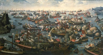 The Battle of Lepanto in 1571 prevented the Ottomans from expanding further (near-contemporary painting by an unknown artist)