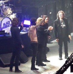 Black Sabbath at the Genting Arena, Birmingham at the end of their final concert as a band, 4 February 2017