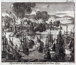 Algiers bombarded by the French, 1682. Dutch engraving 1689.