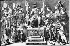 Charles V, enthroned over his defeated enemies (from left): Suleiman, Pope Clement VII, Francis I, the Duke of Cleves, the Duke of Saxony and the Landgrave of Hesse.