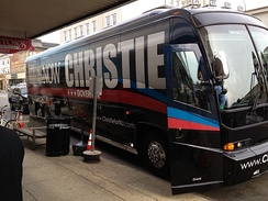 Christie's campaign bus pulls out front of Stainton Square in Ocean City, New Jersey