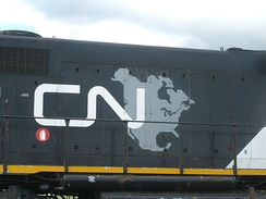 "The ""CN North America"" logo that was used from 1993 to 1995, before the plain ""CN"" logo was reinstated"