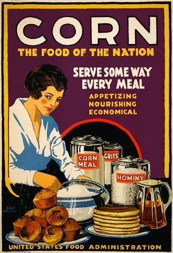 Poster showing a woman serving muffins, pancakes, and grits, with canisters on the table labeled corn meal, grits, and hominy, US Food Administration, 1918
