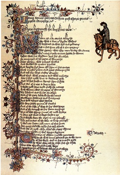 The Ellesmere illuminated manuscript of the Canterbury Tales by Geoffrey Chaucer, early 15th-century, showing the Knight (right)