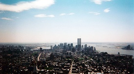 The pre-9/11 Lower Manhattan skyline in May 2001, seen from the Empire State Building.