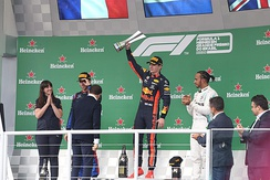Verstappen on the podium after winning the 2019 Brazilian Grand Prix