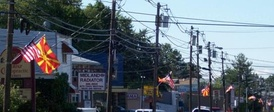 Macedonian and U.S. flags on the streets in Garfield, New Jersey on Macedonian Independence Day