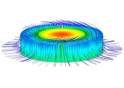 Radial Heat Sink with Thermal Profile and Swirling Forced Convection Flow Trajectories (using CFD analysis)