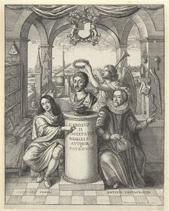 Frontispiece to 'The History of Royal-Society of London', picturing Bacon (to the right) among the founding influences of the Society – National Portrait Gallery, London