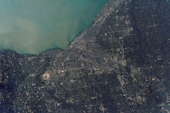NASA photograph of Cleveland and its surrounding suburbs