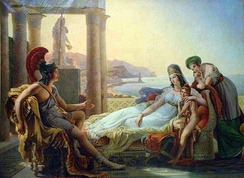 Aeneas tells Dido of the fall of Troy. (Guérin 1815)