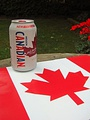 New-look Molson Canadian beer can superimposed on a Canadian flag, July 1, 2014