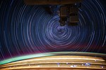 Star trails photographed in earth orbit from the International Space Station