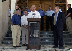 Senators Joe Biden and Lindsey Graham with Iraq's interim Prime Minister Allawi, inside the Green Zone of Baghdad, June 19, 2004