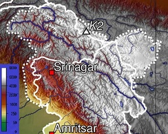 Topographic map of Jammu and Kashmir, with visible altitude for the Kashmir valley and Jammu region.
