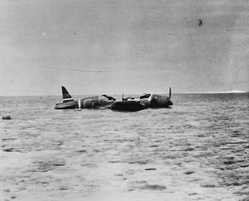 A Shōkaku torpedo plane which ditched at Indispensable Reefs on 7 May 1942, photographed on 9 June