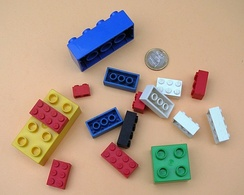Toys with small parts, such as these Lego elements are required by law to have warnings about choking hazards in some countries.