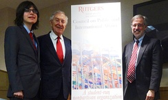 Krueger with Marc Holzer and Edmund Janniger at the Rutgers Council on Public and International Affairs