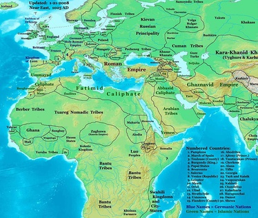The near East in 1025 AD, showing the Fatimid Caliphate and neighbors.