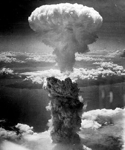The mushroom cloud of the atomic bombing of the Japanese city of Nagasaki on August 9, 1945, rose some 11 mi (18 km) above the bomb's hypocenter.