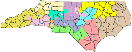 This image shows the current NC Congressional districts, which were struck down on January 9, 2018 by a federal court.[1][2] Due to a stay on the decision by the U.S. Supreme Court, these districts will continue to be used in the 2018 midterm elections pending appeal.