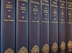 Seven of the twenty volumes of the Oxford English Dictionary (second edition, 1989).
