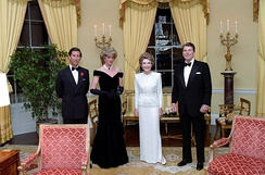The Prince and Princess of Wales with Nancy Reagan and Ronald Reagan in November 1985