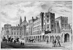 Print of the Palace of Westminster, before it burnt down in 1834