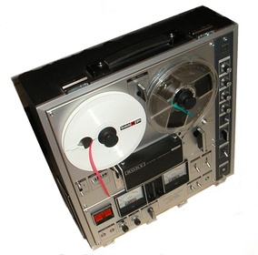 A reel-to-reel tape recorder