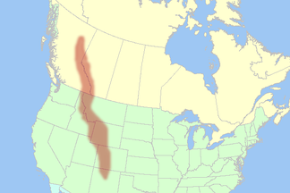Map of the Rocky Mountains of western North America.