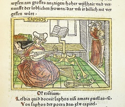In the medieval period, Sappho had a reputation as an educated woman and talented poet. In this woodcut, illustrating an early incunable of Boccaccio's De mulieribus claris, she is portrayed surrounded by books and musical instruments.
