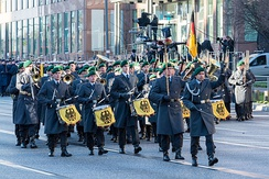The Staff Band of the Bundeswehr during the funeral of German Chancellor Helmut Kohl.