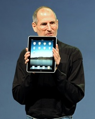 Steve Jobs, Apple's then CEO, introducing the iPad.