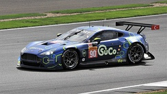 Salih Yoluç turns in to Village corner in the number 90 TF Sport-entered Aston Martin Vantage GTE, during the 2018 6 Hours of Silverstone race.