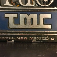 "A plaque found in RTS made after the 1980s, featuring the TMC logo and the acronym ""RTS"""